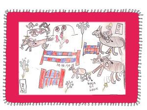 Teken en verhaaltjes verzinnen, ik was er toen al mee bezig. Het liefste tekende ik paarden. 'Het brieschend paard' van Rien Poortvliet heb ik vaak gebruikt om paarden te leren tekenen. Goed gelukt zie je wel aan de tekening hierboven.