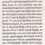 Artikel over 't Klein Geluk Kastje in weekkrant De Waalwijker