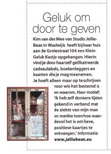 't Klein Geluk Kastje in tijdschrift Happinez